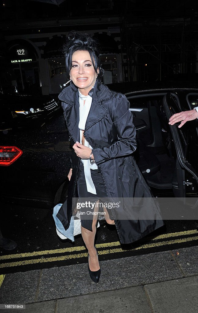 Nancy Dell'olio sighting arriving at the Bulgari Hotel for the Marie Curie charity auction on May 14, 2013 in London, England.