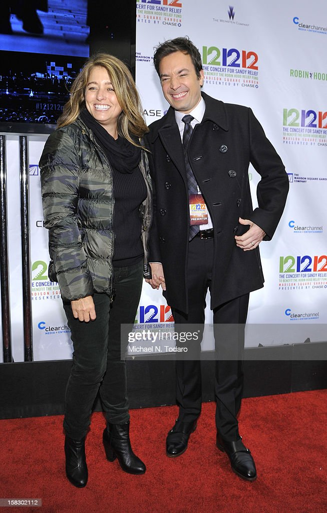 Nancy Fallon and Jimmy Fallon attend 12-12-12 the Concert for Sandy Relief at Madison Square Garden on December 12, 2012 in New York City.