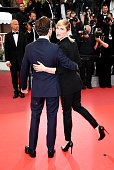 Nancy Grant and Xavier Dolan attend the closing ceremony of the 69th annual Cannes Film Festival at the Palais des Festivals on May 22 2016 in Cannes...