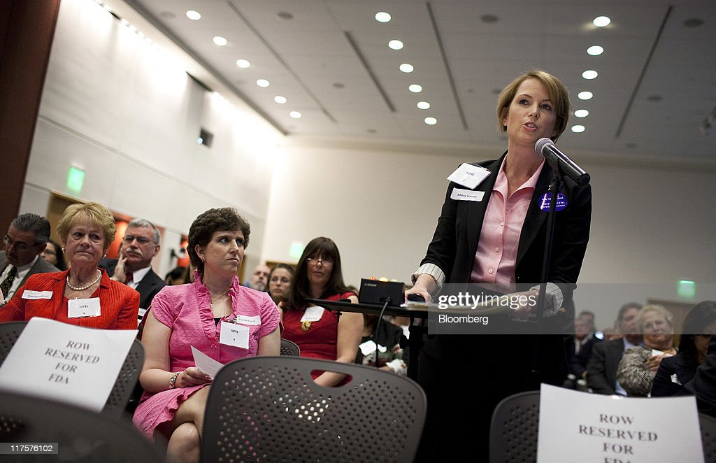 Nancy Haunty, a breast cancer patient, testifies in favor of Avastin during a Food and Drug Administration (FDA) hearing in Silver Spring, Maryland, U.S., on Tuesday, June 28, 2011. Breast-cancer patients and their families urged U.S. regulators to back down from a plan to withdraw approval for Roche Holding AG's Avastin, saying the treatment offered significant benefits for some women. Photographer: Joshua Roberts/Bloomberg via Getty Images