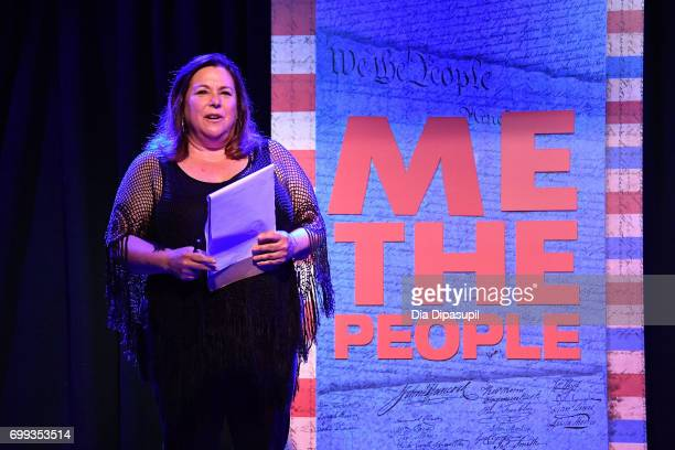 Nancy Holson speaks onstage during the 'ME THE PEOPLE The Trump America Musical' Press Preview Presentation at The Triad Theater on June 21 2017 in...