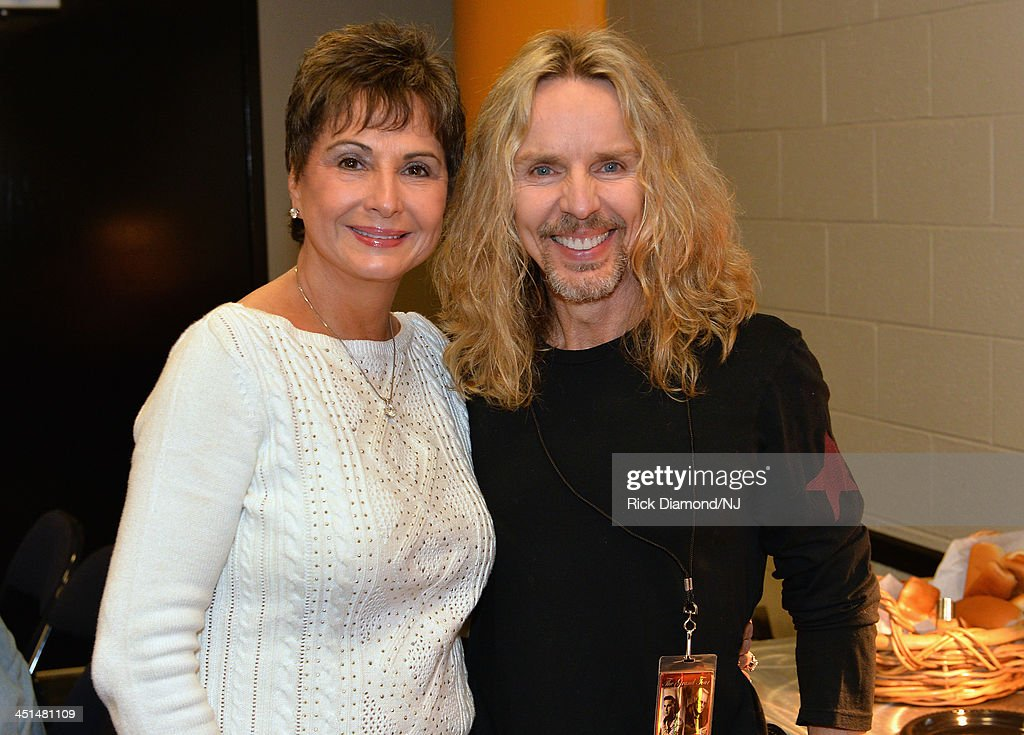 Nancy Jones and <a gi-track='captionPersonalityLinkClicked' href=/galleries/search?phrase=Tommy+Shaw&family=editorial&specificpeople=709252 ng-click='$event.stopPropagation()'>Tommy Shaw</a> pose backstage during rehearsals for Playin' Possum! The Final No Show Tribute To George Jones at Bridgestone Arena on November 22, 2013 in Nashville, Tennessee.