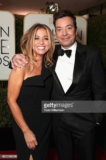 Nancy Juvonen and host Jimmy Fallon attends the 74th Annual Golden Globe Awards at The Beverly Hilton Hotel on January 8 2017 in Beverly Hills...