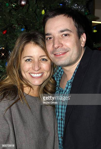 Nancy Juvonen and husband Jimmy Fallon pose backstage at 'Irving Berlin's White Christmas' on Broadway at The Marriott Marquis Theater on January 2...