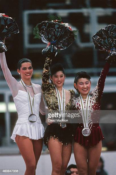 Nancy Kerrigan Kristi Yamaguchi and Midori Ito pose following the medal ceremony for Women's Singles event of the Figure Skating competition of the...