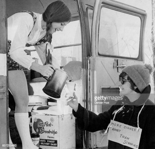 Nancy Leisenring a Thomas Jefferson High School junior serves a cup of coffee to Miss Carole Speyer a striking English teacher at TJ Students set up...