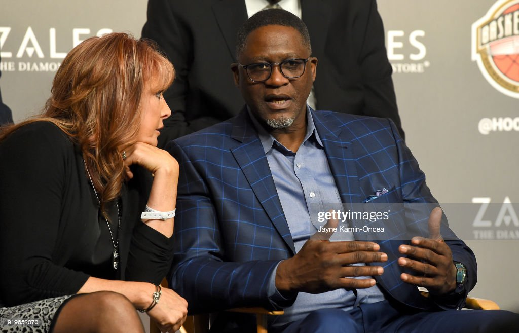Nancy Lieberman, former WNBA player, talks with Dominique Wilkins, former NBA player, as they attended the Naismith Memorial Basketball Hall of Fame press conference to announced its thirteen finalists for the Class of 2018 Election at Staples Center on February 17, 2018 in Los Angeles, California.