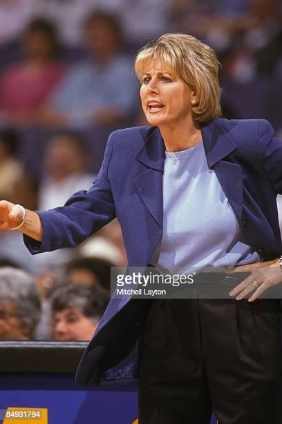 Nancy LiebermanCline head coach of the Detroit Shock during a WNBA basketball game against the Washington Mystics on August 1 2000 at Verizon Center...