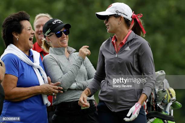 Nancy Lopez Morgan Pressel and Paula Creamer share a laugh on the third tee box during a practice round prior to the 2017 KPMG PGA Championship at...