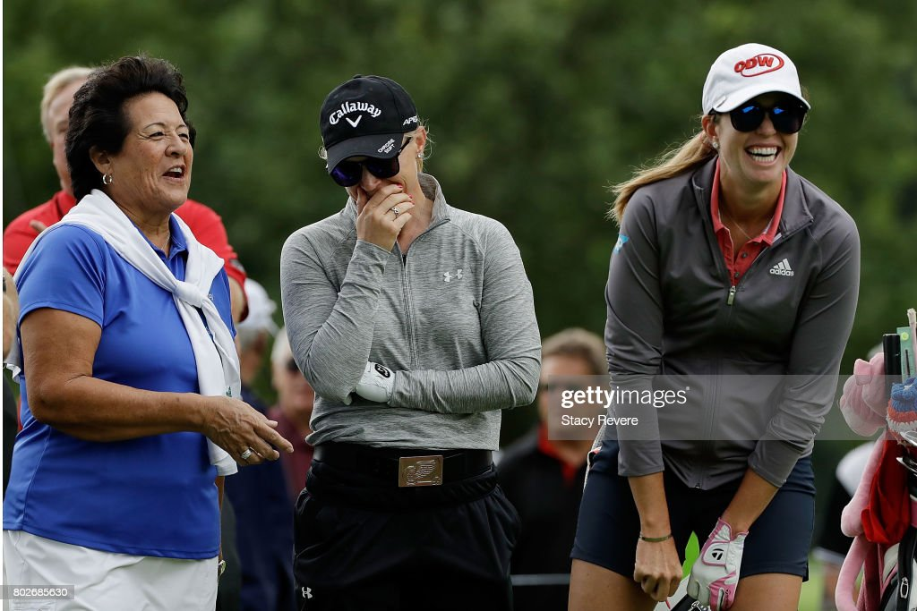 Nancy Lopez, Morgan Pressel and Paula Creamer share a laugh on the third tee box during a practice round prior to the 2017 KPMG PGA Championship at Olympia Fields Country Club on June 28, 2017 in Olympia Fields, Illinois.