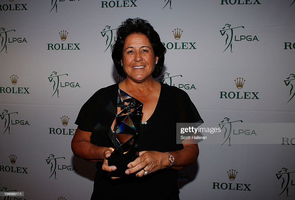 <a gi-track='captionPersonalityLinkClicked' href=/galleries/search?phrase=Nancy+Lopez&family=editorial&specificpeople=221375 ng-click='$event.stopPropagation()'>Nancy Lopez</a> poses with her Rolex Patty Berg Award at the LPGA Rolex Awards Celebration at the Ritz-Carlton Resort on November 16, 2012 in Naples, Florida.