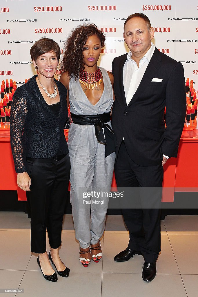 Nancy Mahon, Executive Director MAC AIDS Fund and SVP MAC Cosmetics, former MAC VIVA GLAM Spokesperson, Eve, and John Demsey, Group President, Estee Lauder Companies and Chairman MAC AIDS Fund, celebrate The MAC AIDS Fund's $250 Million Milestone During The International AIDS Conference on July 21, 2012 in Washington, DC.
