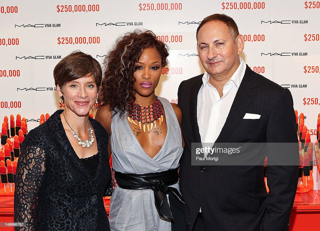 Nancy Mahon, Executive Director MAC AIDS Fund and SVP MAC Cosmetics, former MAC VIVA GLAM Spokesperson, Eve, and <a gi-track='captionPersonalityLinkClicked' href=/galleries/search?phrase=John+Demsey&family=editorial&specificpeople=215290 ng-click='$event.stopPropagation()'>John Demsey</a>, Group President, Estee Lauder Companies and Chairman MAC AIDS Fund, celebrate The MAC AIDS Fund's $250 Million Milestone During The International AIDS Conference on July 21, 2012 in Washington, DC.