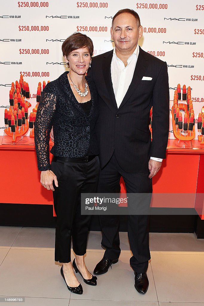 Nancy Mahon, Executive Director MAC AIDS Fund and SVP MAC Cosmetics, and <a gi-track='captionPersonalityLinkClicked' href=/galleries/search?phrase=John+Demsey&family=editorial&specificpeople=215290 ng-click='$event.stopPropagation()'>John Demsey</a>, Group President, Estee Lauder Companies and Chairman MAC AIDS Fund, celebrate The MAC AIDS Fund's $250 Million Milestone During The International AIDS Conference on July 21, 2012 in Washington, DC.