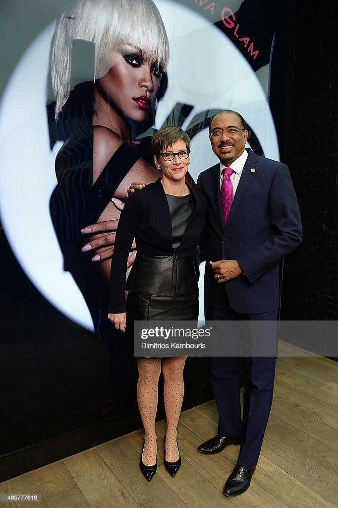 Nancy Mahon, global executive director, MAC AIDS Fund and Michel Sidibe Executive Director UNAIDS attend the MAC Cosmetics Launch of Viva Glam Rihanna at MAC Store Soho on January 29, 2014 in New York City.