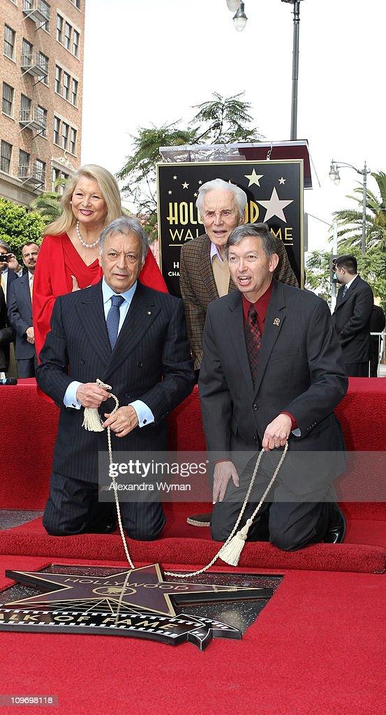 Nancy Mehta, Kirk Douglas, Zubin Mehta and Leron Gubler at Zubin Mehta's star ceremony on Hollywood Walk of Fame on March 1, 2011 in Hollywood, California.