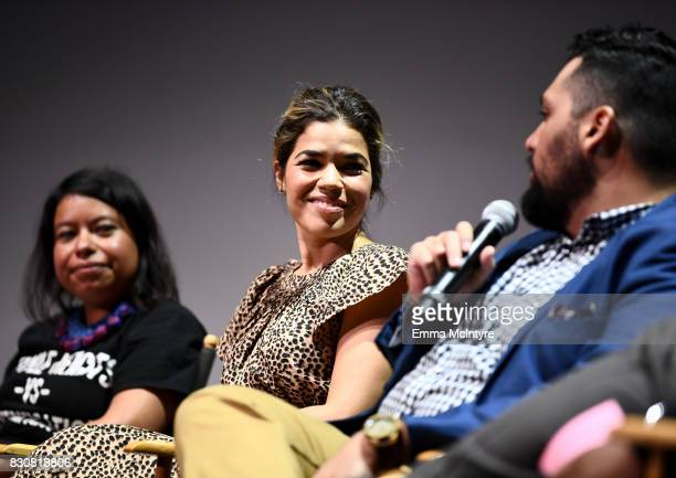 Nancy Meza of Defend Boyle Heights actor America Ferrera and writer/director Marvin Lemus speak onstage at 2017 Sundance NEXT FEST at The Theater at...