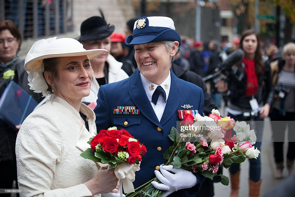 Nancy Monahan, right, a retired Coast Guard petty officer, shares a laugh with her wife, Deb Needham, after their wedding at City Hall on December 9, 2012 in Seattle, Washington. Today is the first day that same-sex couples can legally wed in Washington state.