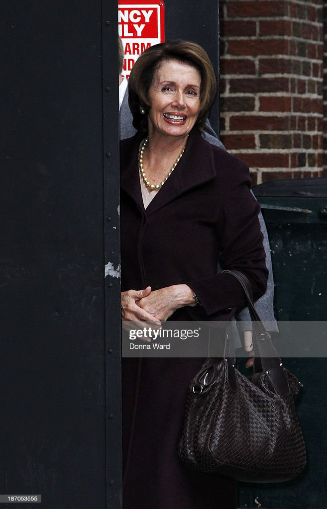 <a gi-track='captionPersonalityLinkClicked' href=/galleries/search?phrase=Nancy+Pelosi&family=editorial&specificpeople=169883 ng-click='$event.stopPropagation()'>Nancy Pelosi</a> arrives for the 'Late Show with David Letterman' at Ed Sullivan Theater on November 3, 2013 in New York City.
