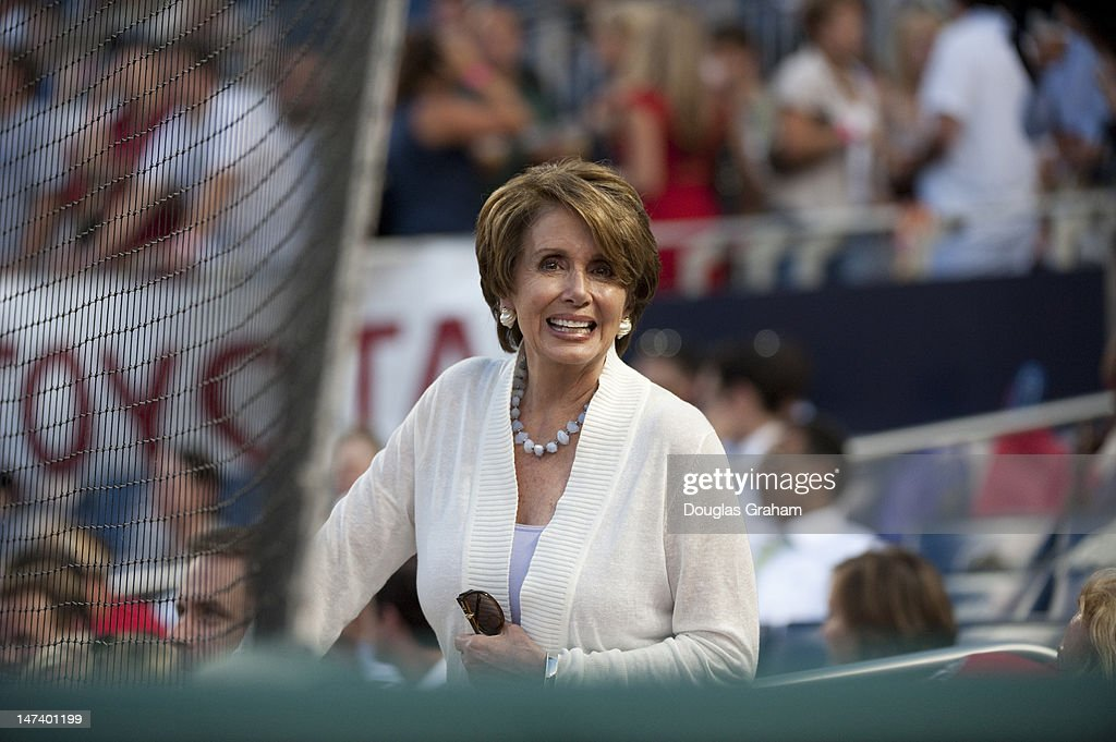Nancy Pelosi, D-CA., enjoys the 51st Annual Roll Call Congressional Baseball Game held at Nationals Stadium, June 28, 2012.