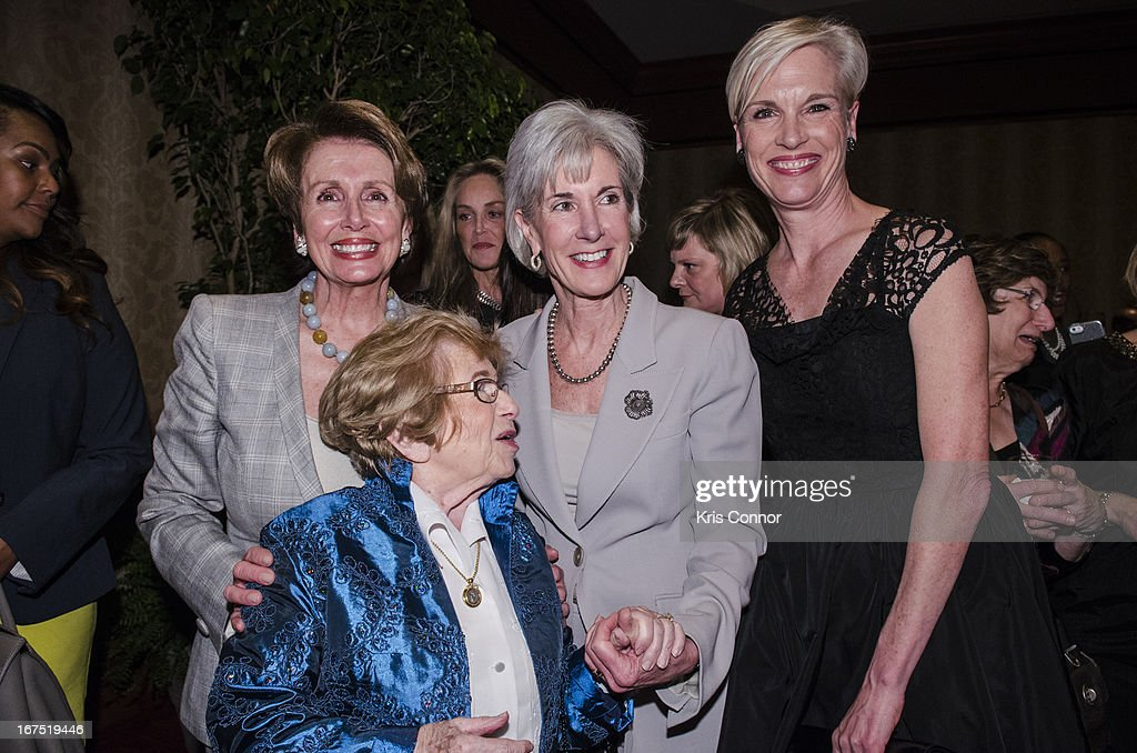 Nancy Pelosi, Kathleen Sebelius, Ruth Westheimer and Cecile Richards attend the <<attends Planned Parenthood Federation of America's VIP Reception at the Marriott Wardman Park Hotel on April 25, 2013 in Washington, DC.