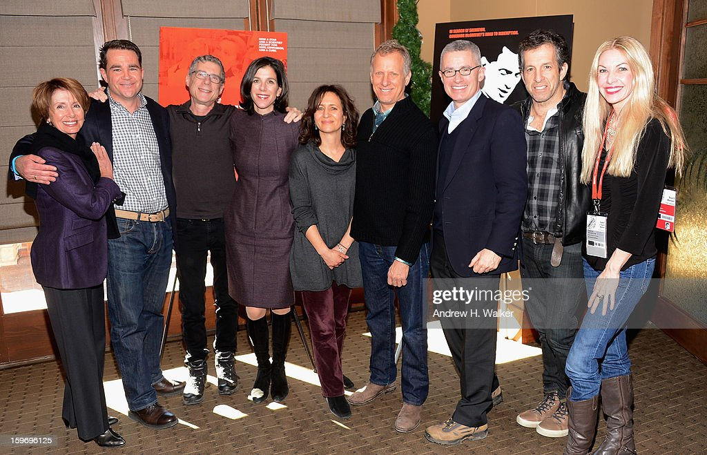 Nancy Pelosi, Mark O'Donnell, director Jeffrey Friedman, director Alexandra Pelosi, HBO's VP Documentary Films Lisa Heller, director Rob Epstein, Gov. Jim McGreevey, Kenneth Cole and Regan Hofmann attend the 'Fall To Grace' and 'The Battle Of AMFAR' Brunch hosted by HBO on January 18, 2013 in Park City, Utah.