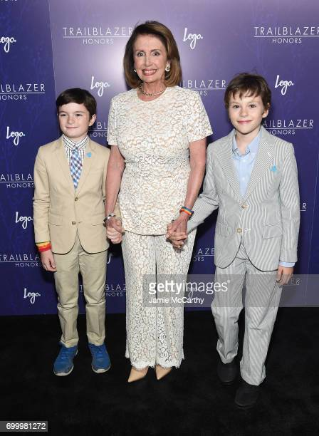 Nancy Pelosi poses with her grandchildren Thomas Vos and Paul Vos at the Logo's 2017 Trailblazer Honors event at Cathedral of St John the Divine on...