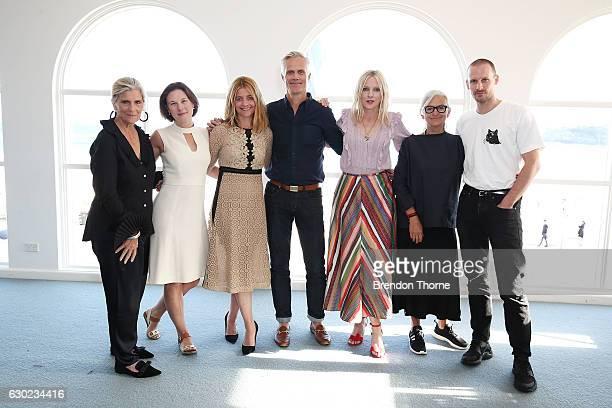Nancy Pilcher Kara Hurry Kellie Hush Malcolm Carfrae Laura Brown Brana Wolf and Dion Lee pose during the Australian Fashion Foundation Awards 2016/17...