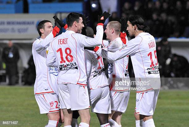 Nancy players celebrate after scoring against Le Havre during their French L1 football match Le Havre vs Nancy on January 31 at the Jules Deschaseaux...