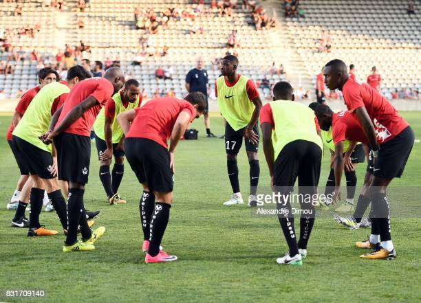 Nancy players during the Ligue 2 match between Nimes Olympique and As Nancy Lorraine at Stade des Costieres on August 14 2017 in Nimes