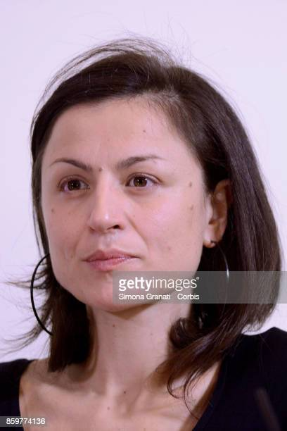 Nancy Porsia winner of the Golden Columbs for Peace 2017 meets the press at the Foreign Press Headquarters on October 10 2017 in Rome Italy The...