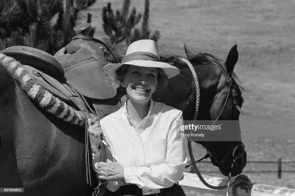 Nancy Reagan, second wife of Ronald Reagan, nominee of the Republican Party for the 1980 presidential election, at their ranch in California.