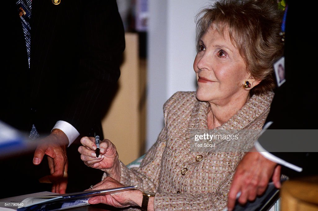 Nancy Reagan signs books at the Ronald Reagan Presidential Library and Museum in Simi Valley The Reagans will celebrating 50 years of marriage on...