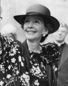 Nancy Reagan the wife of American President Ronald Reagan in London for the wedding of Prince Charles and Lady Diana Spencer Original Publication...