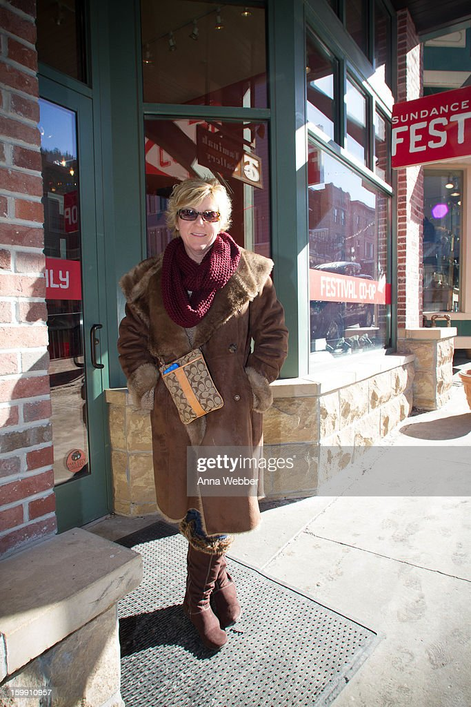 Nancy Schubb, middle school counselor from the Bay Area, wearing Jones of N.Y. fur coat, Seven Jeans, a Coach bag, Eyebobs sunglasses and Natural Soul boots on January 22, 2013 in Park City, Utah.