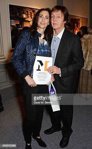 Nancy Shevell and Sir Paul McCartney attend the book launch and private view of 'Mary McCartney Monochrome And Colour' curated by De Pury De Pury on...