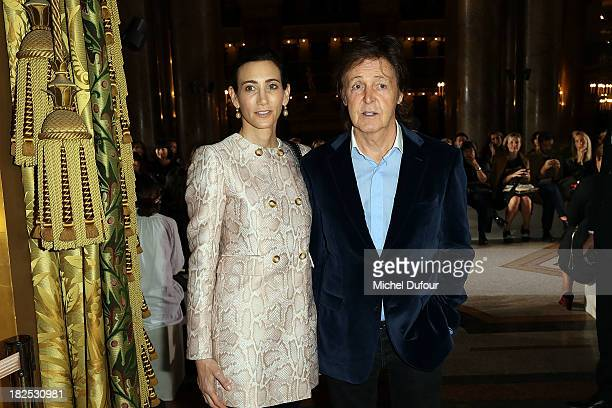 Nancy Shevell and Sir Paul McCartney attend the Stella McCartney show as part of the Paris Fashion Week Womenswear Spring/Summer 2014 on September 30...