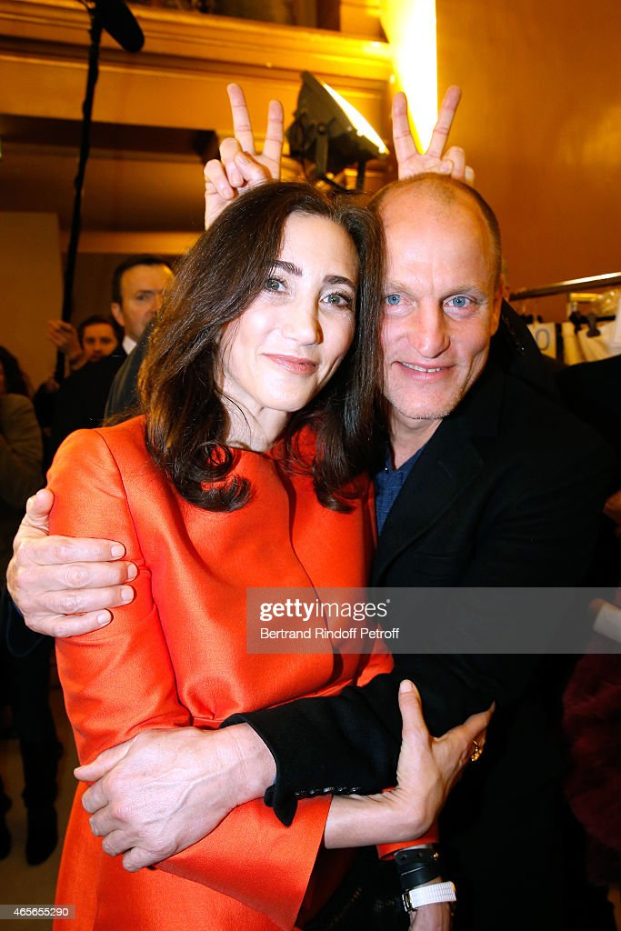 Nancy Shevell and Woody Harrelson pose Backstage after the Stella McCartney show as part of the Paris Fashion Week Womenswear Fall/Winter 2015/2016 on March 9, 2015 in Paris, France.