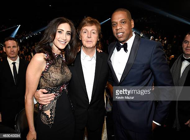 Nancy Shevell musician Paul McCartney and rapper Jay Z attend The 57th Annual GRAMMY Awards at STAPLES Center on February 8 2015 in Los Angeles...