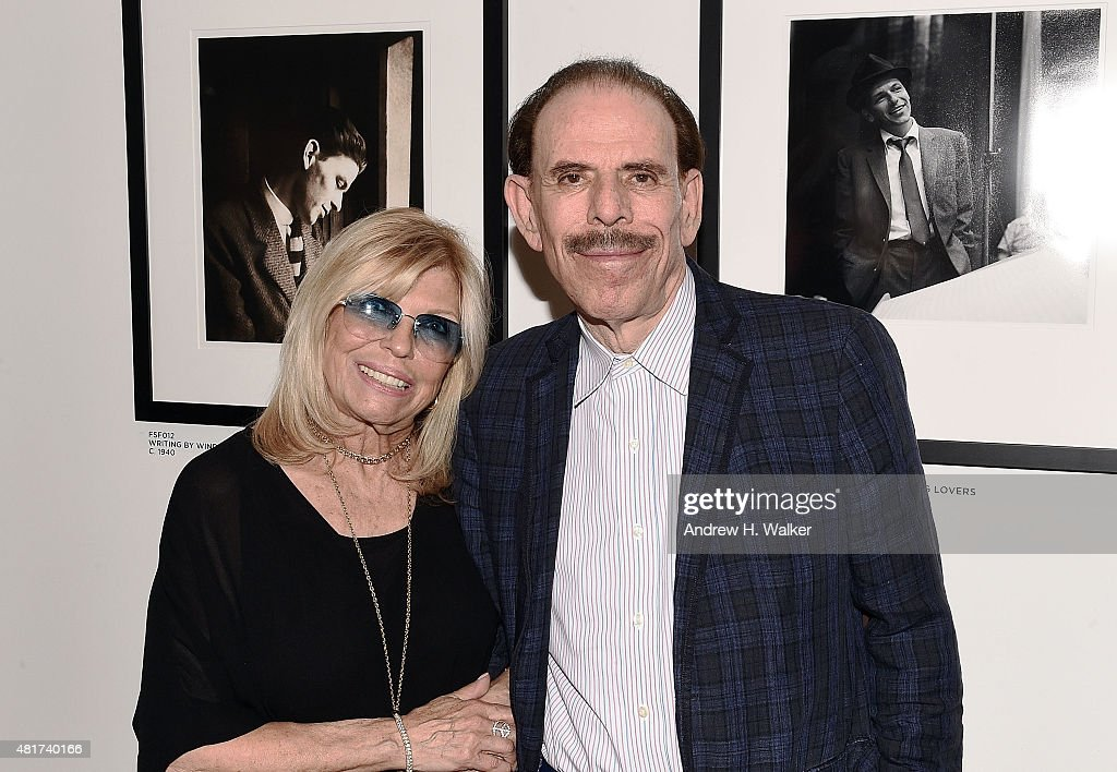Nancy Sinatra and artist Peter Max attend the 'Sinatra' book launch event at Saks Fifth Avenue on July 23 2015 in New York City