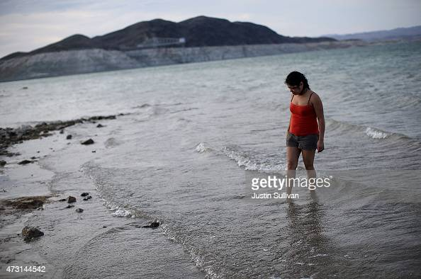 Nancy Veyna stands in the waters of Lake Mead at Boulder Beach on May 12 2015 in Lake Mead National Recreation Area Nevada As severe drought grips...