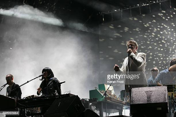 Nancy Whang and James Murphy of LCD Soundsystem performs at electric Picnic at Stradbally Hall Estate on September 3 2016 in Dublin Ireland