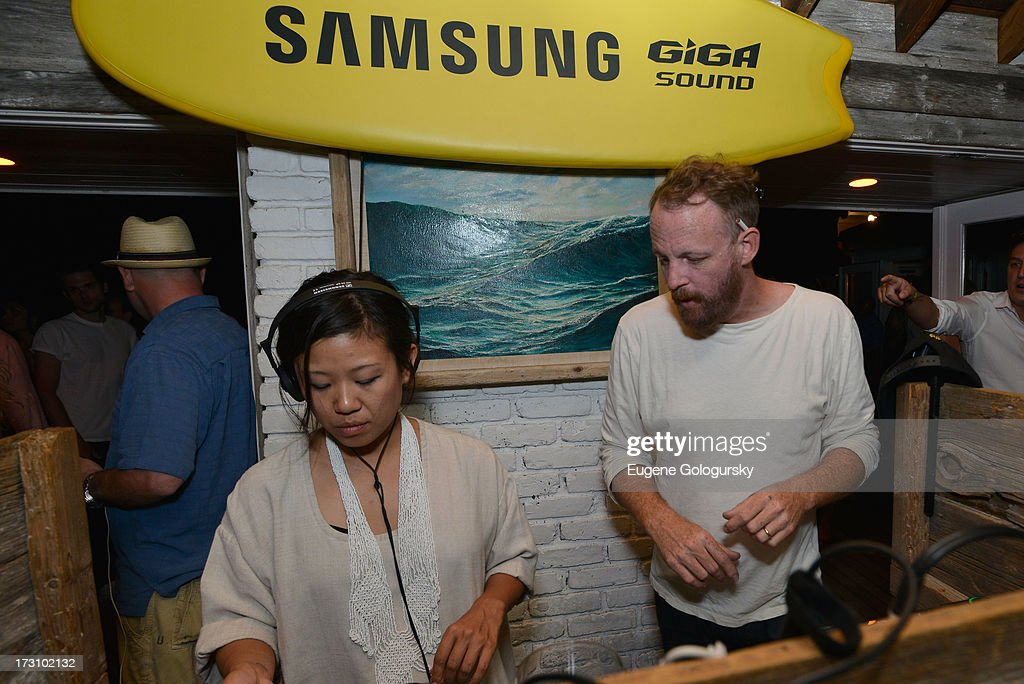 Nancy Whang and Pat Mahoney of LCD Soundsystem at The Surf Lodges Summer DJ Series to launch the new Samsung Giga speaker system in Montauk, NY on July 7th, 2013
