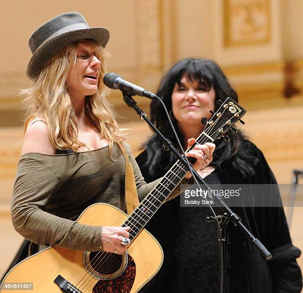 Nancy Wilson and Ann Wilson of Heart attends The Music of Paul Simon rehearsals at Carnegie Hall on March 31 2014 in New York City