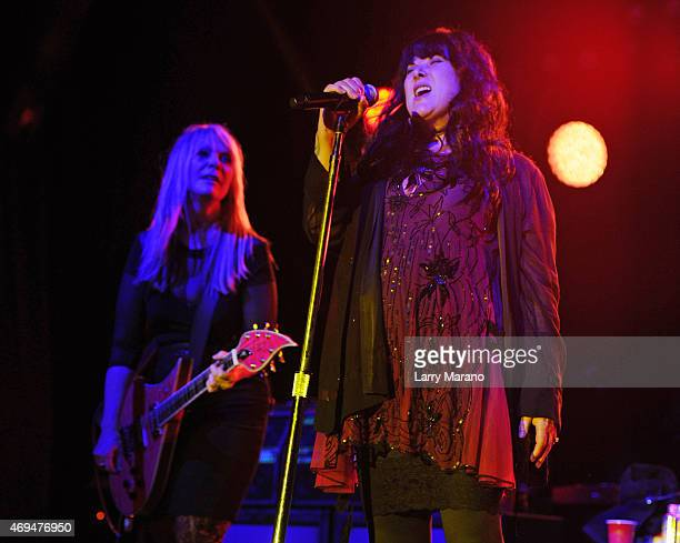Nancy Wilson and Ann Wilson of Heart perform at Fontainebleau Miami Beach on April 11 2015 in Miami Beach Florida