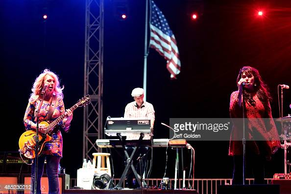 Nancy Wilson and Ann Wilson of Heart perform at the Antelope Valley Fairgrounds on August 25 2015 in Lancaster California