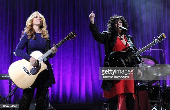 Nancy Wilson and Ann Wilson of Heart perform onstage at the Elton John AIDS Foundation's 12th Annual An Enduring Vision Benefit at Cipriani Wall...