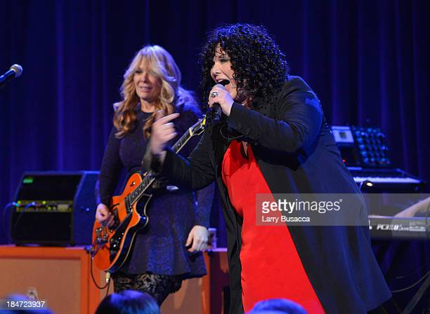 Nancy Wilson and Ann Wilson of Heart performs onstage at the Elton John AIDS Foundation's 12th Annual An Enduring Vision Benefit at Cipriani Wall...
