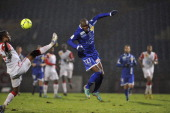 Nancy's Brazilian defender Andre Luiz vies for the ball with Bastia's French forward Anthony Modeste during the French L1 football match Bastia vs...