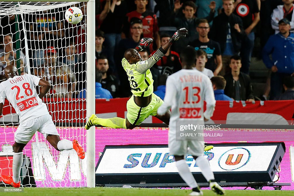 Nancy's Cameroonese goalkeeper GuyRoland Ndy Assembe jumps during the French L1 football match between Stade Rennais FC and AS Nancy Lorraine on...
